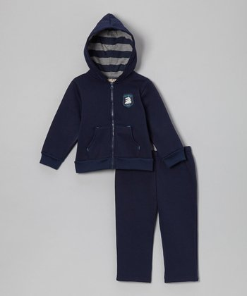 Navy Crest Fleece Zip-Up Hoodie & Pants - Infant & Toddler