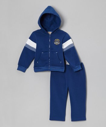 Blue 'All-Star' Fleece Zip-Up Hoodie & Pants - Infant & Toddler