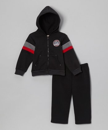 Black 'All-Star' Fleece Zip-Up Hoodie & Pants - Infant & Toddler