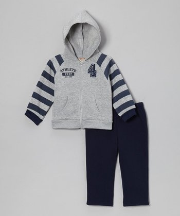 Gray Raglan Fleece Zip-Up Hoodie & Navy Pants - Infant & Toddler