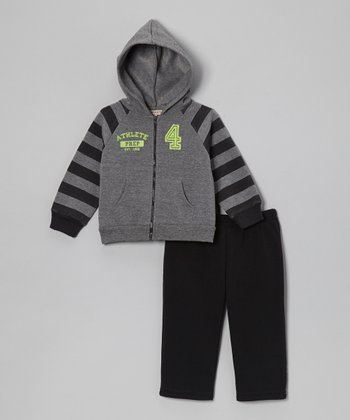 Charcoal Raglan Fleece Zip-Up Hoodie & Pants - Infant & Toddler