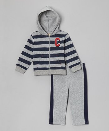 Gray Stripe Fleece Zip-Up Hoodie & Pants - Infant & Toddler