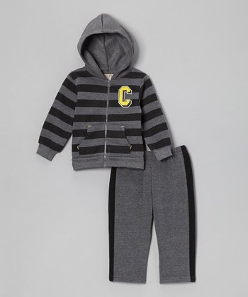 Charcoal Stripe Fleece Zip-Up Hoodie & Pants - Infant & Toddler
