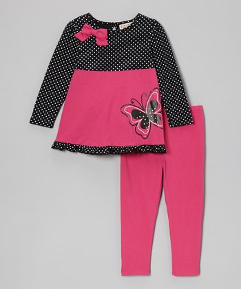 Hot Pink Polka Dot Butterfly Top & Leggings - Infant
