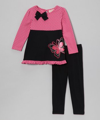 Black Polka Dot Butterfly Top & Leggings - Infant