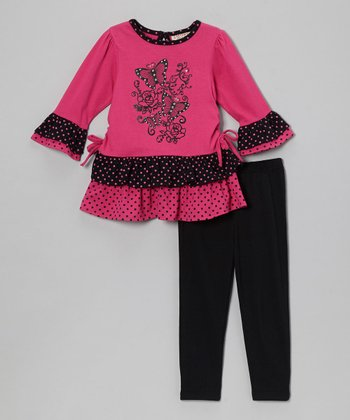 Hot Pink Butterfly Ruffle Top & Black Leggings - Infant & Toddler