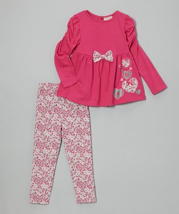 Hot Pink Bow Top & Leopard Leggings - Infant