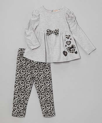Gray Bow Top & Leopard Leggings - Infant