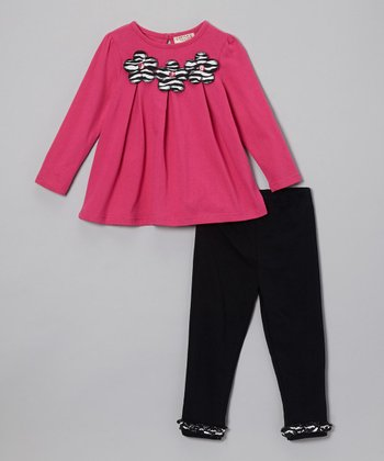 Hot Pink Flower Top & Black Leggings - Infant
