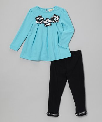 Turquoise Flower Top & Black Leggings - Infant