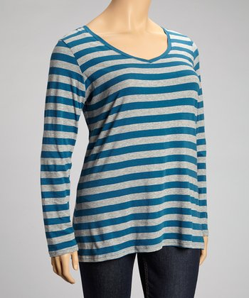 Real Teal Stripe Long-Sleeve V-Neck Top - Plus