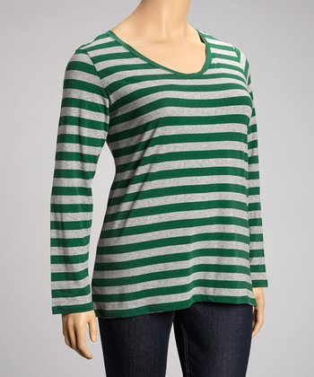 Ivy League Green Stripe Long-Sleeve V-Neck Top - Plus