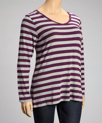 Power Purple Stripe Long-Sleeve V-Neck Top - Plus