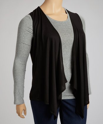 Black Handkerchief Open Vest - Plus