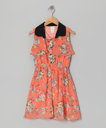 Orange Rose Button-Up Dress