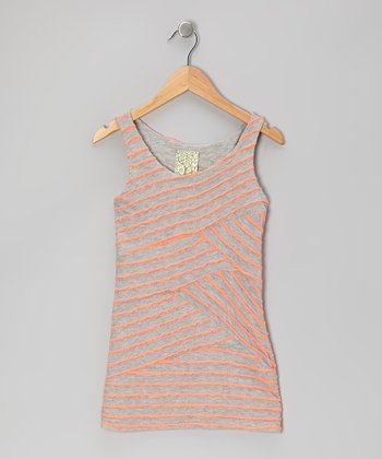 Pink & Gray Diagonal Stripe Tank