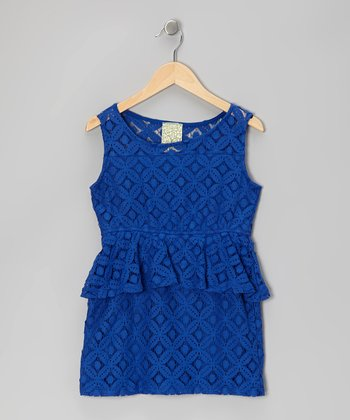 Royal Blue Lace Peplum Dress