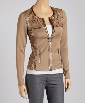 Taupe Lace Panel Jacket