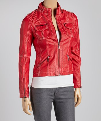 Red Contrast Motorcycle Jacket