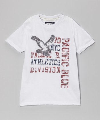 White 'Pacific Blue Athletic' Tee