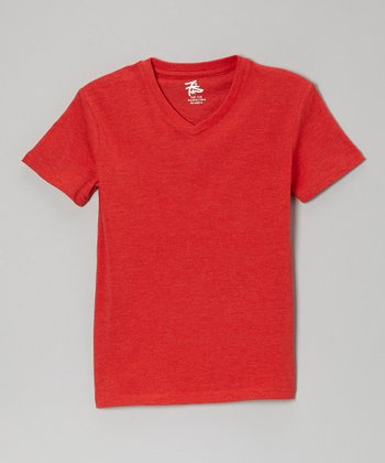 Red Heather V-Neck Tee