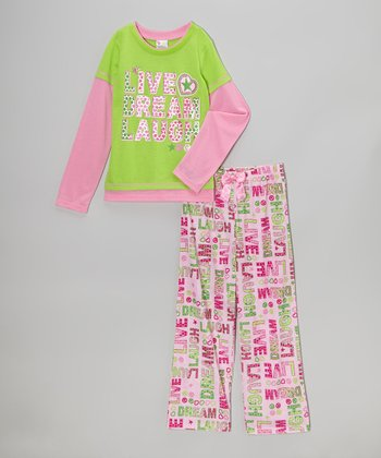Pink & Green 'Live, Dream, Laugh' Pajama Set- Girls