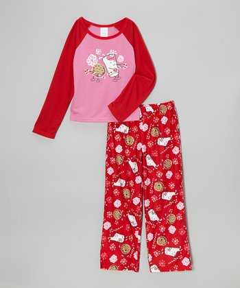 Red Yummy Milk & Cookies Pajama Set - Girls