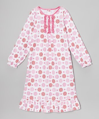 Pink Snowflake Nightgown - Girls