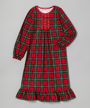 Red Plaid Nightgown - Girls