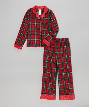 Red Plaid Pajama Set - Girls