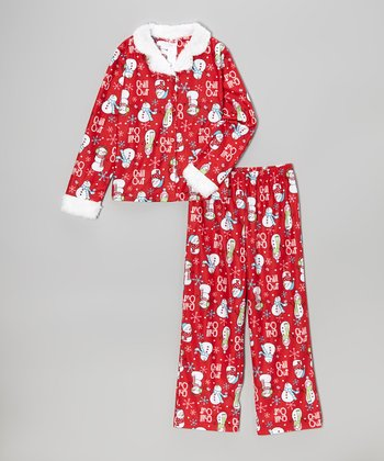 Red 'Chill Out' Pajama Set - Girls