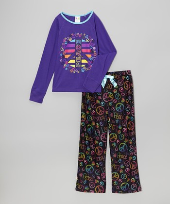 Black & Purple 'Peace' Pajama Set - Girls
