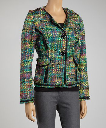 Green & Fuchsia Colorful Crayons Jacket