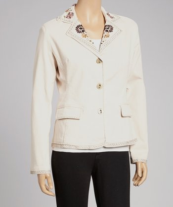 Natural Floral Embroidered Blazer