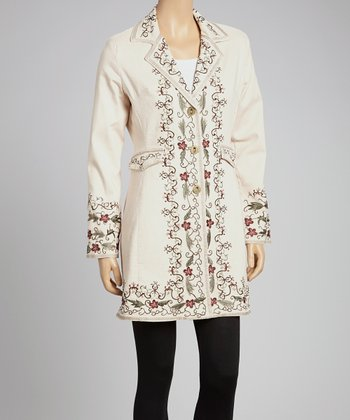 Natural & Gold Floral Embroidered Jacket