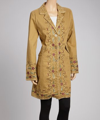 Earth Brown & Gold Floral Embroidered Jacket