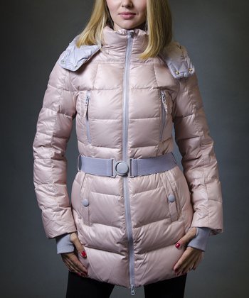 Ice Pink & Lavender Hooded Long Puffer Coat