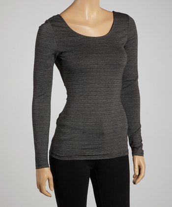 Charcoal & Black Scoop Back Top
