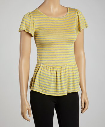 Yellow & Gray Stripe Peplum Top