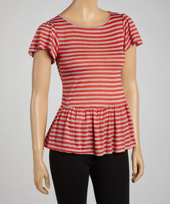 Red & Gray Stripe Peplum Top