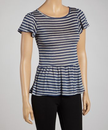Navy & Gray Stripe Peplum Top