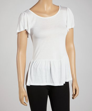 White Peplum Top