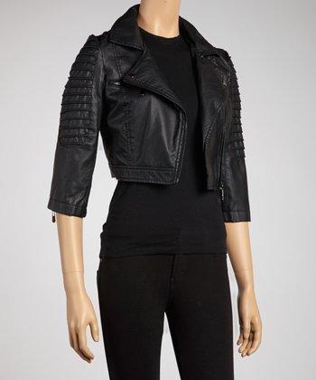 Black Tiered-Sleeve Motorcycle Jacket