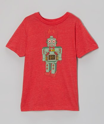 Heather Red Robot Spudz Tee - Toddler & Boys