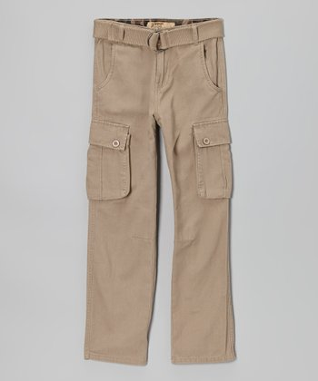 Tan Twill Cargo Pants