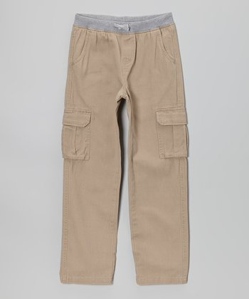 Tan Knit Twill Cargo Pants