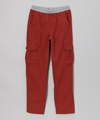 Red Knit Twill Cargo Pants - Boys