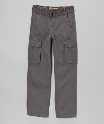 Gray Twill Cargo Pants - Boys