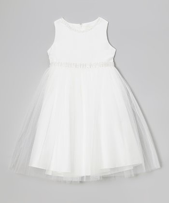 Ivory Sheer Swing Dress - Girls