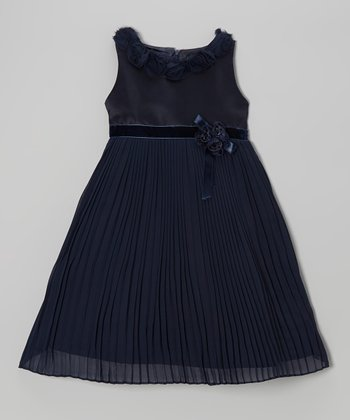Navy Flower Pleated Shift Dress - Girls